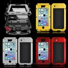 ALUMINUM METAL TEMPTERED GORILLA GLASS FILM CASE FOR APPLE IPHONE 5C 4/4S 5/5S