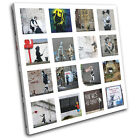 HD Collage Banksy Street SINGLE CANVAS WALL ART Picture Print VA
