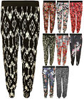 New Womens Printed Elasticated Waist Pocket Ladies Harem Trousers Pants 8-16