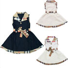 British Style Classic Girls Sleeveless Plaid Collar Belt Dress One-piece Skirt