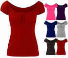 Ladies Bow Detailed Elasticated Womens Short Sleeve Gypsy Stretch Top Size 8-14