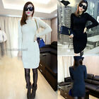 Retro Cable Knit Women's Long Sleeves Winter Jumper Mini Sweater Dress UP196
