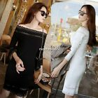 Korean Women Sexy Hollow Out Boat Neck Slim Cocktail Party Bodycon Pencil Dress