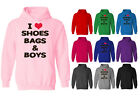 Womens I Love Shoes Bags and Boys Slogan Pullover Hoodie NEW UK 12-20