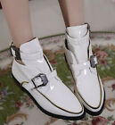 US5-11 Buckle Up Faux Patent Leather Womens Flat Boots Square Low Heels Zippered