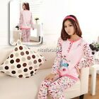Ladies Women's Cartoon Dog Long Sleeve Cotton Pajamas Sleepwear Home Wear N4U8