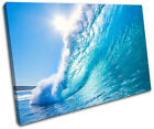 Wave Sunset Seascape SINGLE CANVAS WALL ART Picture Print VA