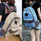 Women Girls Canvas Backpack Travel Rucksack Satchel Shoulder Bag School Book Bag