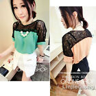 Womens Short Sleeve Lace Summer Patchwork Chiffon Loose Cute Tops T-Shirt Blouse