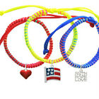 **USA Patriotic Flag Faith Hope Love Macrame Friendship Bracelets (Set of 3) USA