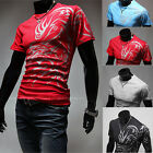 Mens Round Neck Short Sleeve Muscle Casual Slim Fit Ribbed Tees T-Shirts Tops
