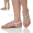 WOMENS LADIES LOW HEEL FLAT SLINGBACK T-BAR GEM TOE POST SUMMER SANDALS SIZE