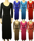 New Ladies Maxi Dress Long Sleeve Belt Stretch Plain Full Length Scoop Neck 8-14