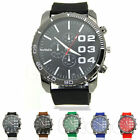 New Fashion Men Silicone Rubber Jelly Band Black Dial Sport Quartz Wrist Watch