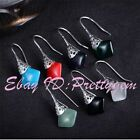 12mm Square Stone Beads Tibetan Silver Fashion Classical Dangle Hook Earring