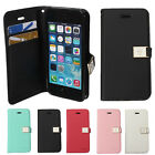 Flip PU Leather TPU GEL Card Wallet Case Cover Pouch For iPhone 5 5S