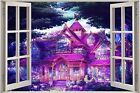 Huge 3D Window Fantasy Purple House View Wall Stickers Decal Wallpaper Mural