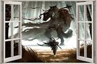 Huge 3D Window Fantasy Warrior Forest View Wall Stickers Decal Wallpaper Mural