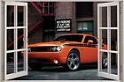 Huge 3D Window Dodge Challenger Car View Wall Stickers Decal Wallpaper Mural