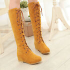 US4.5-11 Fashion womens knee high boots lace-up hidden toe elegant preppy work