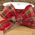 3x metres wired metallic christmas tartan ribbon red gold green 40mm & 60mm wide