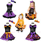 HALLOWEEN Trick or Treat Crystal Cobwebs Girl Clothes Top Pettiskirt Outfit 1-8Y