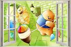 Huge 3D Window view Childrens Fairytale Teddy Bear Wall Sticker Decal Mural