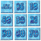 13th-100th Blue Glitz Napkins Birthday Party Supplies Decorations Tableware