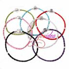 Multicolor Sliver Tone Cord Clasp Leather Bracelet Fit Charms Beads DIY 15cm