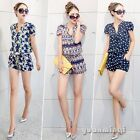 Fashion Women Lady Casual Crown Geometric Print Pants Jumpsuits Rompers Playsuit