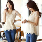 Sexy Floral Lace Women Summer Loose Tops Fashion Casual T-Shirt Blouse Plus Size