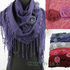 Beautiful 3D Flower With Chic Cotton Long Lace Trim Tassel Triangle Knit Scarf