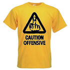 Mens Caution Offensive Middle Finger Funny T Shirt Custom Print Tshirt