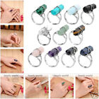 Fashion Women Hexagon Healing Point Chakra Gemstone Crystal Bead Finger Ring Hot