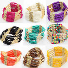 New Bohemian Charming Beaded Bangle Bracelet Multilayer Ladies Fashion Jewelry