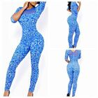 Womens Sexy Short Sleeve Blue Floral Print Bodycon Rompers Jumpsuits Lace Dress