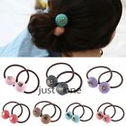 Trendy Sweet Women Girls Cute Dots Button Alloy Rabbit Shape Hair Ring 7 Color