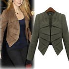 New Women Ladies Celeb Faux Leather Cashmere Career Coat Outwear Jacket Blazer
