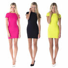 AH84 Ladies Pleated Textured Bodycon Stretch Cap Sleeve Womens Mini Party Dress