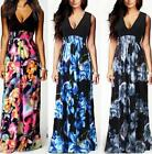 New Women's Deep V Neck Floral Print Boho Summer Beach Long Maxi Party Dress