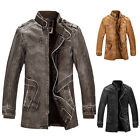 Mens Military pu leather long jacket Punk bomber trench parka coat outwear S~XXL