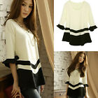 2014 New Fashion Black&White Colorblcok Loose Tee Shirt Casual Top Blouse Hot