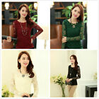 Delicate Women Floral Stretch Lace Blouse Tops Vintage Long Sleeve Tee Shirts