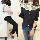 New Womens Lace Stitching Stand Collar Tops Summer Chiffon Long Sleeve Blouse