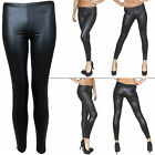 New Womens Ladies Shiny Wet Look Skinny Black Full Length Leggings Size 8 10 14