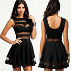 Womens Celeb Bodycon Crop Top and Skirt Sheer Mesh Sexy Party Boutique Dress Set