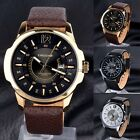 New  Fashion Mens Dial Leather Band Date Display Army Sport Quartz Wrist Watch