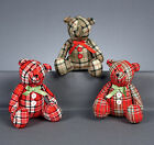 Sitting Tartan fabric Teddy Bear Christmas Decoration Gift FREE P&P