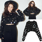 Sequin Embellished Cropped Long Sleeves Knit Sweater Top  SP226