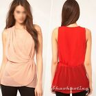 New Summer Women Ladies Sleeveless Plain Club Casual Wrap Tank Blouse Tops S M L